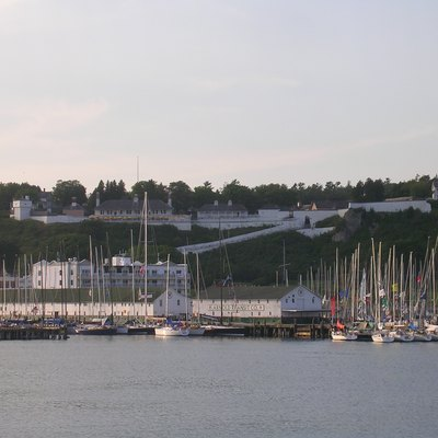 The Fort at Mackinac Island, Michigan, United States, during the weekend of the Chicago to Mackinac sail race.