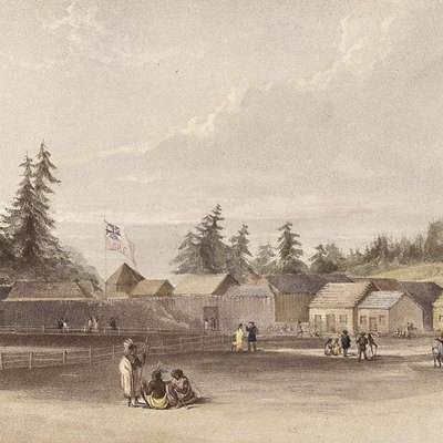 Fort Vancouver, Washington, USA in 1845