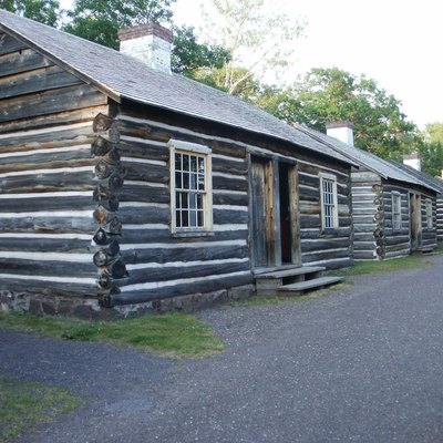 The Married Enlisted Soldiers Quarters (4 log cabins) — at Fort Wilkins Historic State Park, Copper Harbor, Upper Michigan.