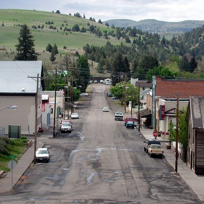 Main Street in Fossil, Oregon, looking south from the high school parking lot