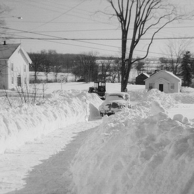 Fostertown Church, Town of Newburgh, New York in the winter of 1959–60. The small building on the right—which belonged to the church—was the first schoolhouse in the area.