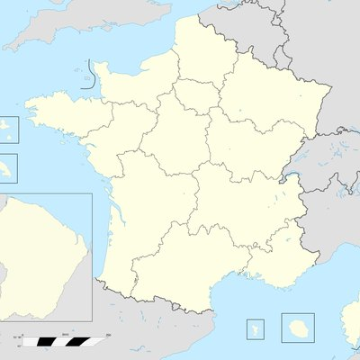 Base map of France with 18 regions.