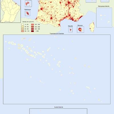 Population density in the French Republic at the 1999 census.