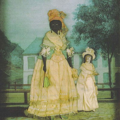 Free woman of color with quadroon daughter; late 18th century collage painting, New Orleans. Presumably the are posed in front of their home.