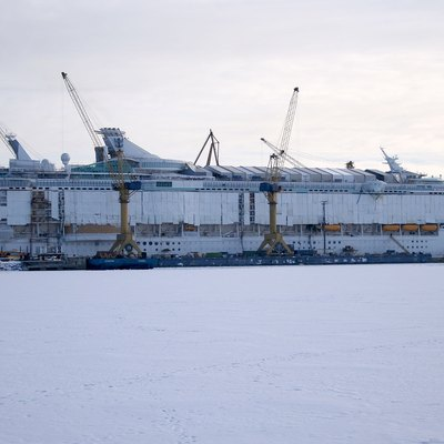 MS Freedom of the Seas under construction at Turku Shipyard in Turku, Finland.