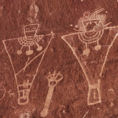 Fremont Culture petroglyphs, located east of Green River, Utah. These particular drawing are from around 600 A.D.
