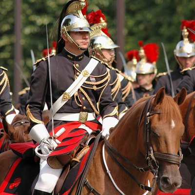 Horseman of the French Republican Guard during the 2007 military parade on the Champs-Élysées.