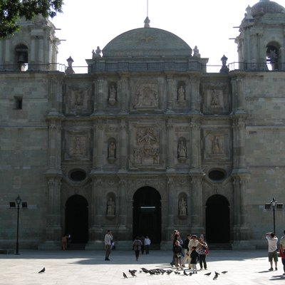 One view of the main facade of the cathedral of Oaxaca city Mexico