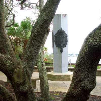 Reconstruction of the monument placed at St. Johns River at Ft. Caroline by French settlers in 1564, on display at Ft. Caroline National Monument