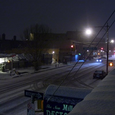 Looking east along Fulton Street at Albany Avenue, covered in snow, circa early 2007.
