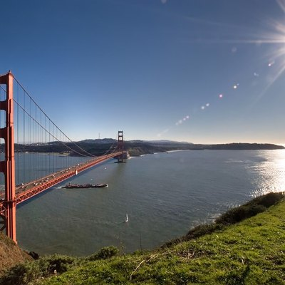 The Golden Gate Bridge and the City of San Francisco as seen from the Marin Headlands.