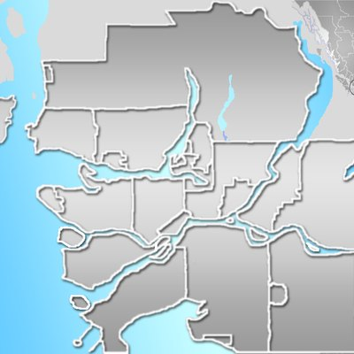 Blank map of the Greater Vancouver Area, British Columbia, Canada