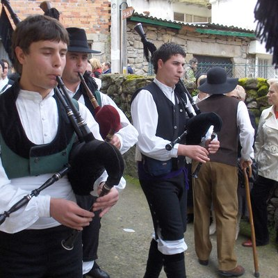 Galician bagpipers or gaiteiros in Spain