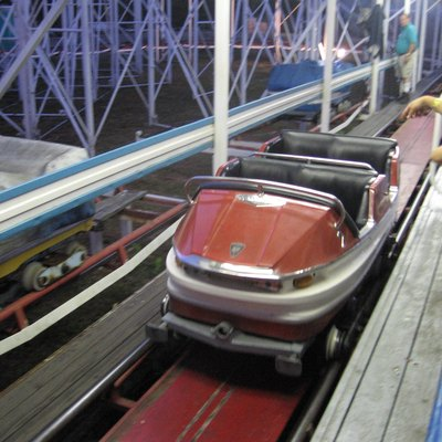 One of the passenger cars (trains) from a Galaxi-style roller coaster at the Funtown Splashtown USA park in Saco, Maine