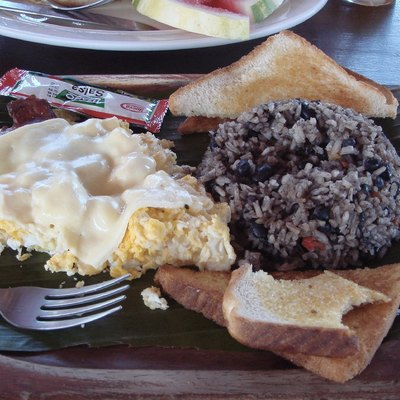 A Costa Rican breakfast with gallo pinto