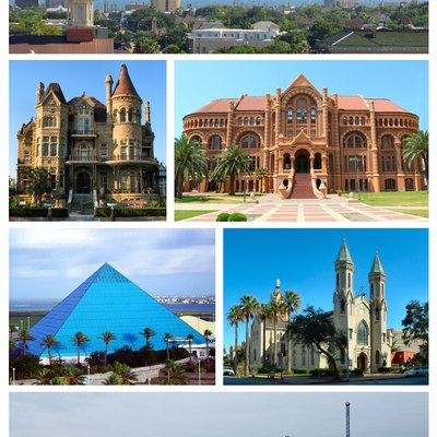 Collage of various landmarks from Galveston, Texas.