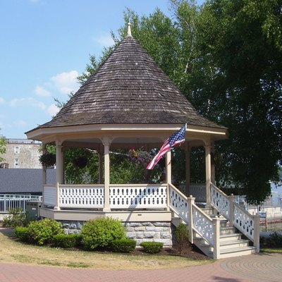The gazebo in Clift Park at the head of Skaneateles Lake in Skaneateles, New York.