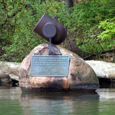 Gen. James Clinton's dam monument at source of the Susquhanna River in Cooperstown, New York