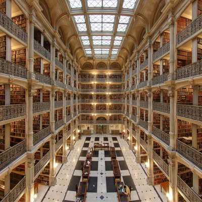 Interior of the George Peabody Library in Baltimore