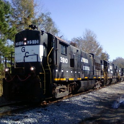 Georgia Central Railway train at Telfair Road in Garden City, Georgia