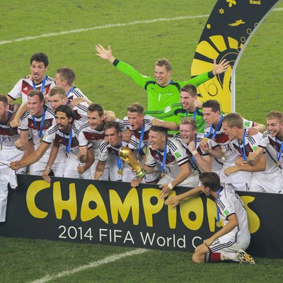 The German national football team after winning the FIFA World Cup for the fourth time in 2014. Football is the most popular sport in Germany.