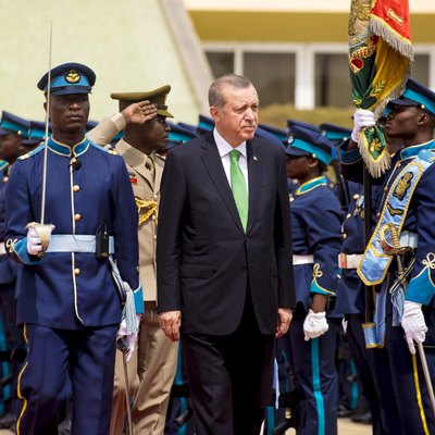 Turkish President Recep Tayyip Erdoğan inspects Guard of Honor mounted by the Ghana Air Force at the Flagstaff House (Presidential Palace Of Ghana) in Accra On March 1st 2016.