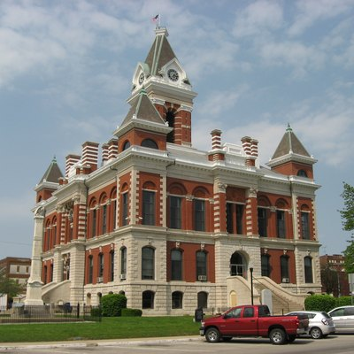 Southern front and western side of the Gibson County Courthouse, located along State Roads 64 and 65 on Courthouse Square in downtown Princeton, Indiana, United States. Built in 1883, it is listed on the National Register of Historic Places, and it is a part of the locally-designated Courthouse Square Historic District.