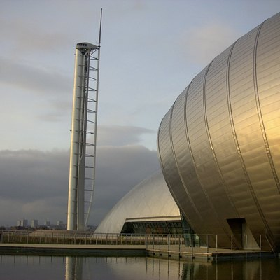 The Glasgow Tower, the Glasgow Imax and the Glasgow Science Centre.