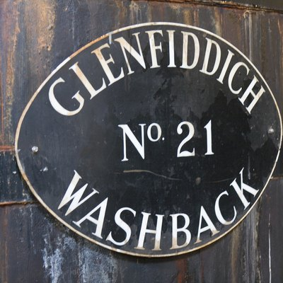 Label on the washback tun of Glenfiddich destillery; Dufftown, Moray, Scotland