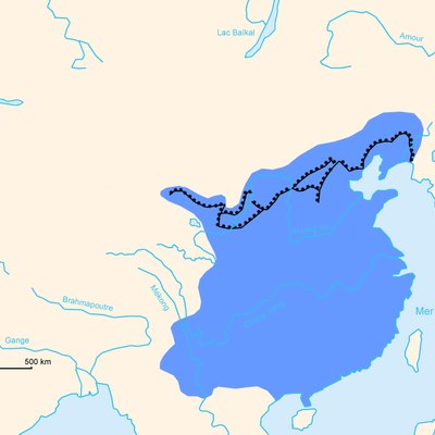 PNG map of the Great Wall : Ming Dynasty (1368 AD - 1644 AD) only. It includes french names.