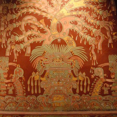 This reproduction of one of the murals depicting the Great Goddess of Teotihuacan from the Tepantitla apartment complex located at Teotihuacan is in the National Museum of Anthropology in Mexico City.
