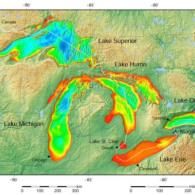 Great Lakes bathymetry. [19][20][21][22][23][24]