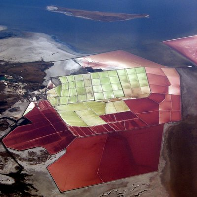 Evaporation ponds on the Great Salt Lake west of Ogden, Utah, USA. This photo was taken in July 2006.