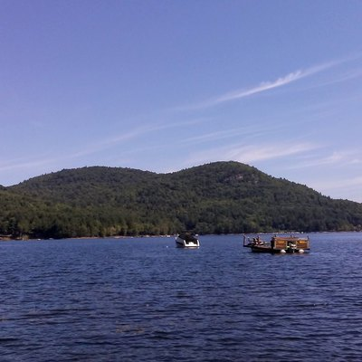 The lake from the northeastern corner of the lake, with the Adirondacks in the background