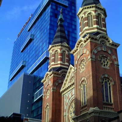 Greektown Hotel and St. Mary's Church Detroit