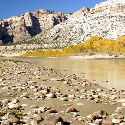 A view of the Green River facing upstream of the Split Mountain Campground in Dinosaur National Monument. The river flows through Split Mountain Canyon before leaving Dinosaur National Monument.
