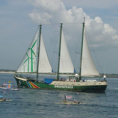 Greenpeace's Rainbow Warrior arrives in Bali for the UN climate conference