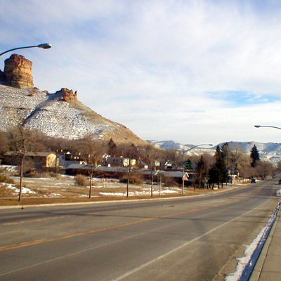 Green River, looking east on Flaming Gorge Avenue. Castle Rock is to the left.