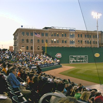 A view of left field at Greenville's new West End Field Field just off Greenville, SC's Main St. The 5,700 seat stadium is the home of the Greenville Drive, a Class A affilate of the Boston Red Sox American League baseball club.