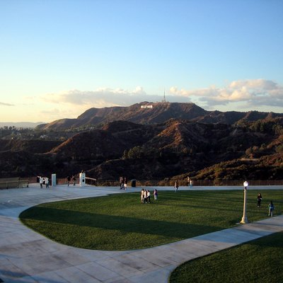 View of the Hollywood Sign on Mount Lee (Santa Monica Mountains) in Los Angeles, California, from Griffith Observatory. (Note: picture taken on a very clear day, a day after rain; Los Angeles is otherwise quite smoggy, and you'd have trouble seeing the sign.)