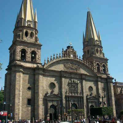 Lateral facade view of the Cathedral of Guadalajara, in Jalisco state, Mexico. Built between 1561 and 1618 in the Spanish Renaissance style.