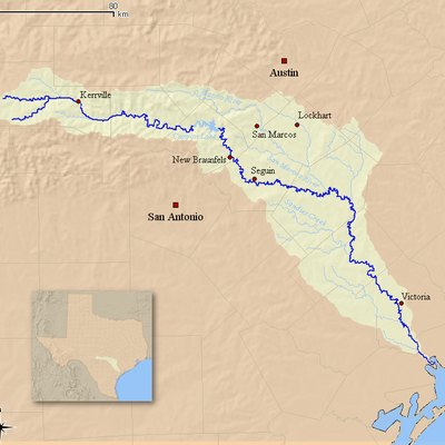 This is a map of the Guadalupe River watershed. I, Kuru, created from data originating at the USGS.