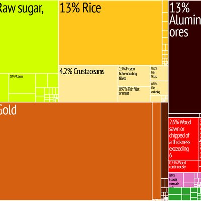Guyana Export Treemap from MIT Harvard Economic Complexity Observatory