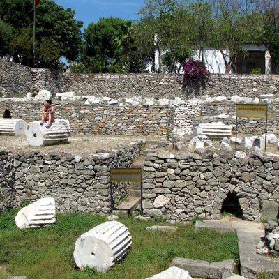 Surviving substructures and ruins of the Mausoleum of Mausolus, one of the Seven Wonders of the Ancient World, in Halicarnassus (modern Bodrum.)