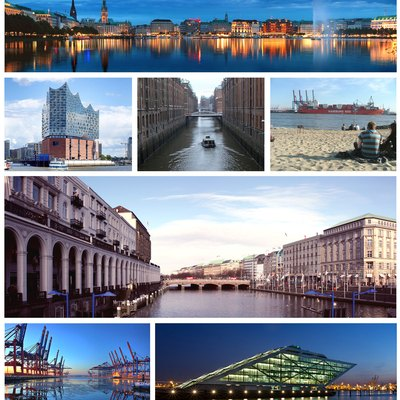 Montage of images from the city of Hamburg, Germany