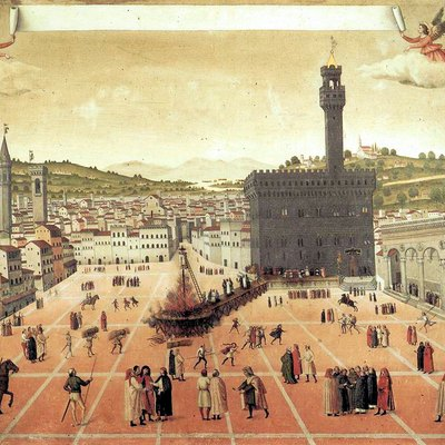 Hanging and burning of Girolamo Savonarola in Piazza della Signoria in Florence 1498 - Painting depicting Renaissance Florence