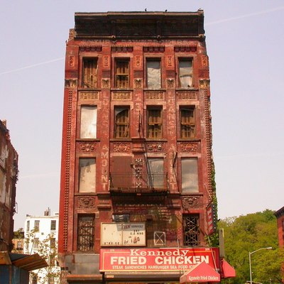 One of the few condemned buildings that last in Harlem, photographed on May 14, 2005.