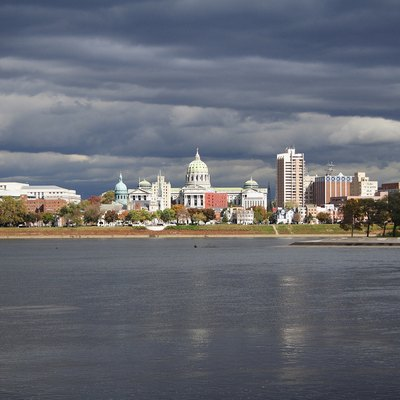 Downtown Harrisburg and the Pennsylvania State Capitol Building as seen from Cumberland County, across the Susquehanna River