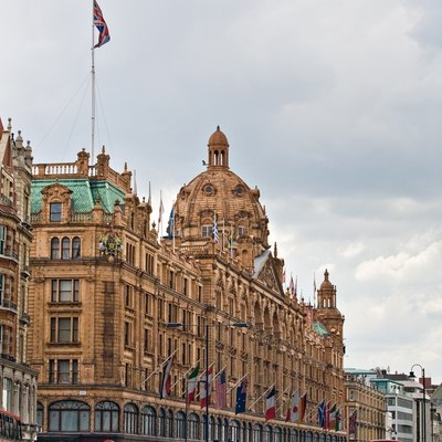 Harrods Department Store as viewed from the north-east along Brompton Road, in London, England.