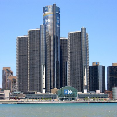 Picture of GM's headquarters in Detroit. Taken from Windsor on the Canadian side of Detroit River.